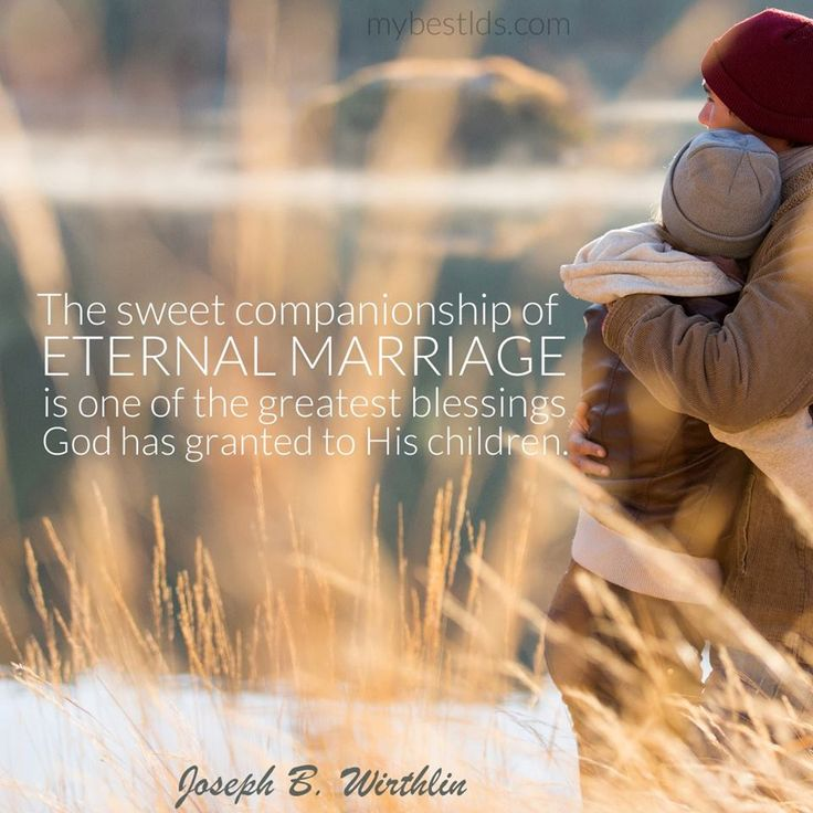 """From the beginning of time, marital companionship of husband and wife has been fundamental to our Heavenly Father's great plan of happiness. The sweet companionship of eternal marriage is one of the greatest blessings God has granted to His children."" From #ElderWirthlin's http://pinterest.com/pin/24066179230935589 inspiring #LDSconf http://facebook.com/223271487682878 message http://lds.org/general-conference/1997/10/valued-companions Learn more http://facebook.com/FamilyProclamation"