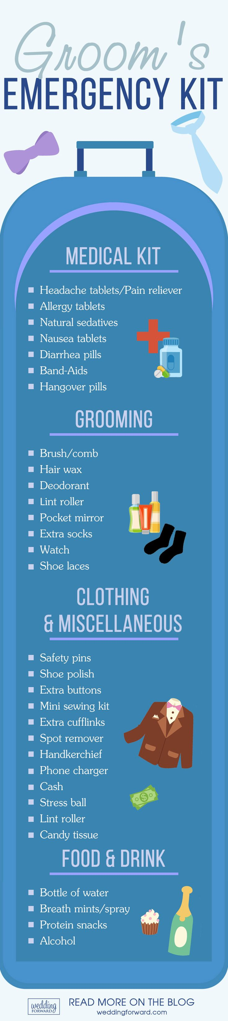 Creatinng A Wedding Day Emergency Bag ❤️ Create grooms emergency kit with everything you might need to handle small and moderate problems. See more: http://www.weddingforward.com/creatinng-wedding-day-emergency-bag/ #groom #emergency #kit
