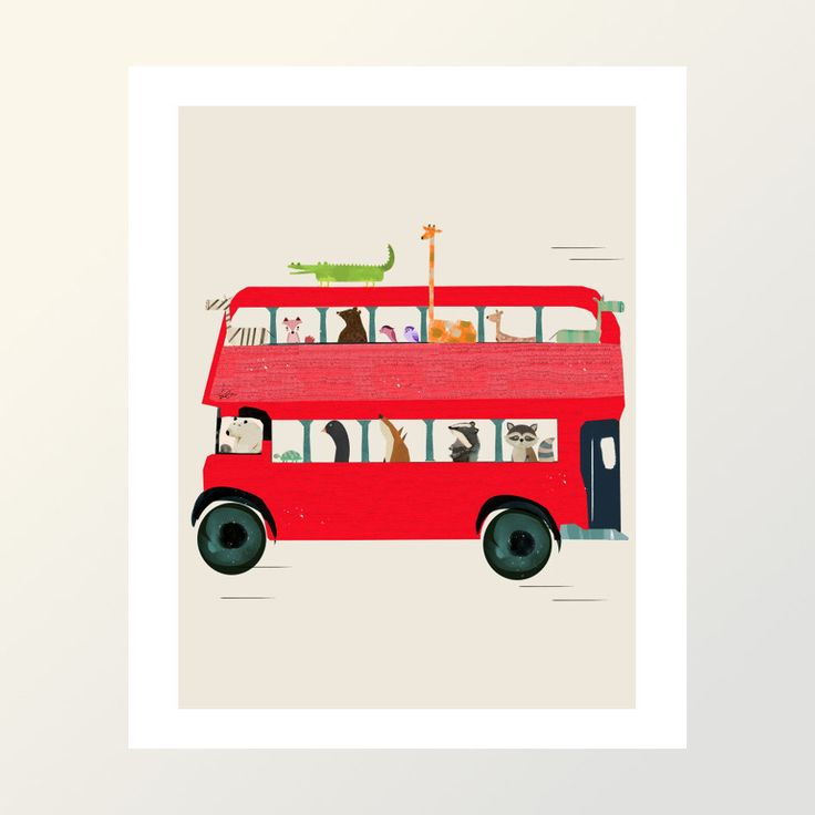 The big red bus . illustrations for nursery decor with artist bri.b.gallery art prints for home  art decor.color your world by oxleystudio on Etsy https://www.etsy.com/listing/461565690/the-big-red-bus-illustrations-for