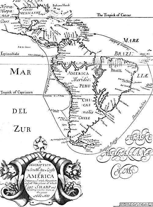 Pirate Treasure Map - South Sea and Coasts of America 1680-1683