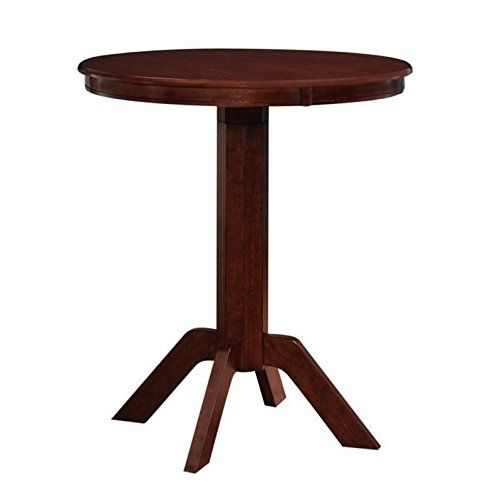 """Boraam Troy Pub Table in Hazelnut:   The Troy pub table utilizes convenience and transitional style. Adjusting from 36 inches and 40 inches, this product goes great with our bar and counter stools. Features: Finish: Hazelnut Material: Rubberwood and Plywood Assembly Required Pairs nicely with our 24"""" counter and 29"""" bar stools Available in two difference finishes: Hazlenut & Merlot 36"""" Table Top diameter Table extends to 40 inches in height with a 4"""" adjustable filler Specifications: O..."""