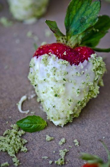 white chocolate strawberries with basil sugar