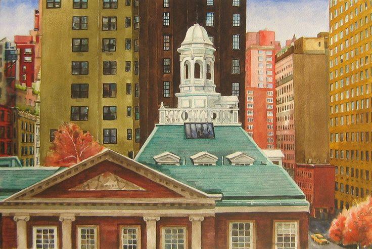New York-i tető a Lexington Avenu-on 42cmx62cm akvarell