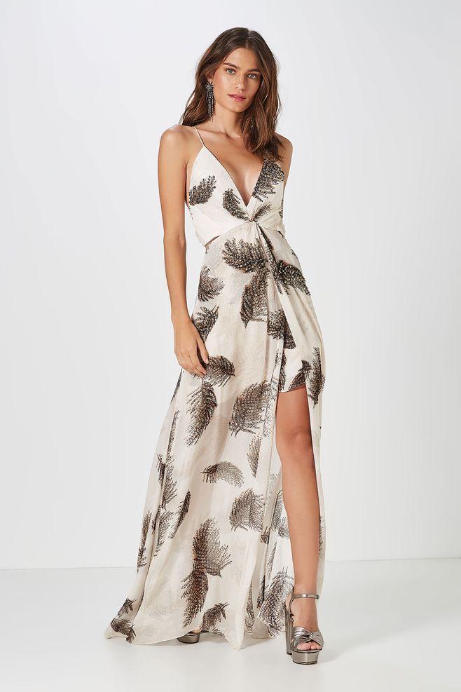 5d041c383 Vestido Longo Nó Bordado Broche em 2019 | Desejos fashion | Dresses ...