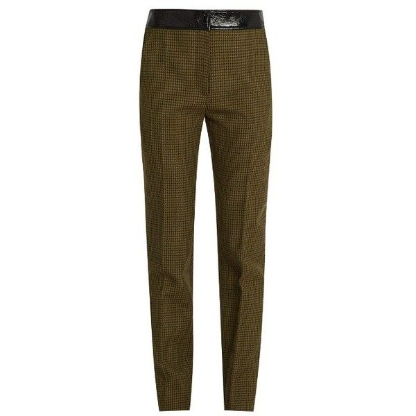 Courrèges Hounds-tooth slim-leg wool trousers featuring polyvore, women's fashion, clothing, pants, green multi, wool pants, slim wool pants, pleated trousers, slim trousers and brown trousers