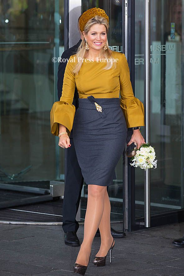 Netherlands' Queen Maxima opens an exhibition of Russian avant-garde painter Malevich at the exhibit at Stedelijk Museum in Amsterdam on October 18, 2013