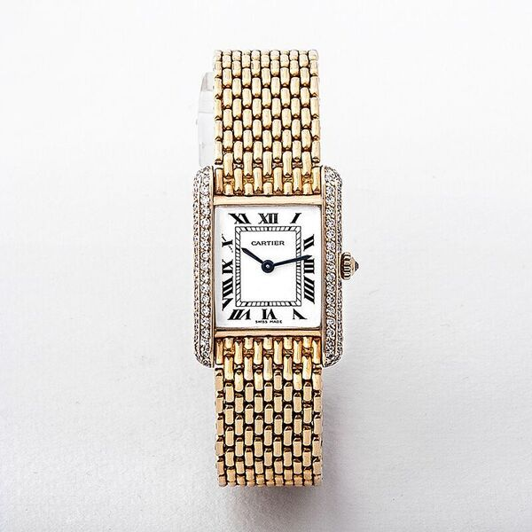 Tank Louis Cartier Watch with 18th Gold & Diamonds