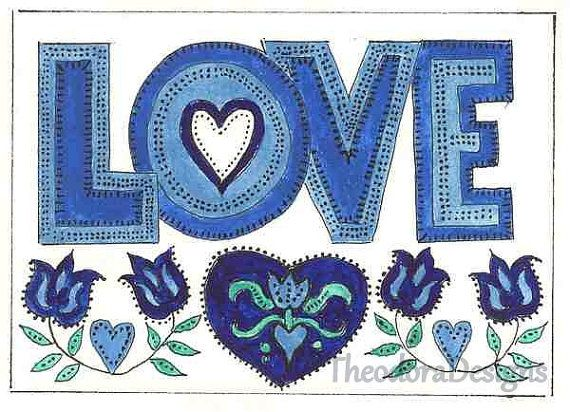 Love Sign Fraktur Blues Flowers Hearts ACEO by THEODORADESIGNS, $5.00
