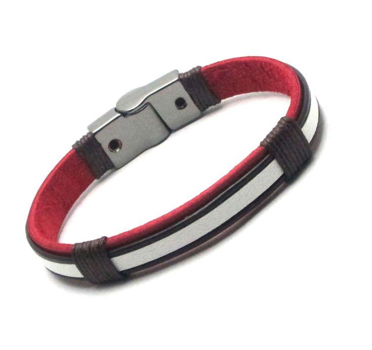 pulseira-masculina-couro-vermelho-marrom-modetno