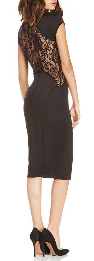 Lace back pencil dress