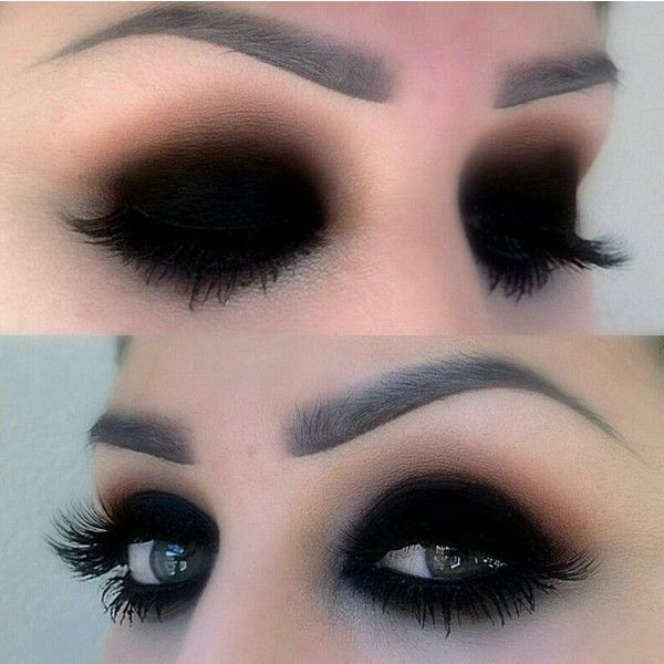 Black eyeshadow makeup Hair and makeup ❤ liked on Polyvore featuring beauty products, makeup, eye makeup, eyeshadow, eyes, beauty and filler