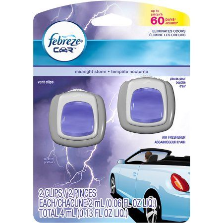 Febreze Car Vents Clips Midnight Storm Air Freshener (2 count; 2 mL each) - Walmart.com