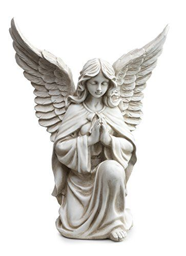Napco 11299 Praying Angel In Kneeling Pose Garden Statue,