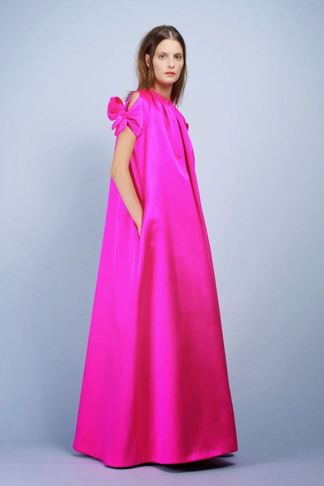 Paule Ka Spring 2014 Schiaparelli Hot Pink Full-Length Cape