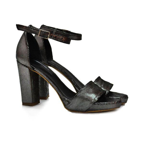 Sandale piele cu efect de glitter via Polyvore