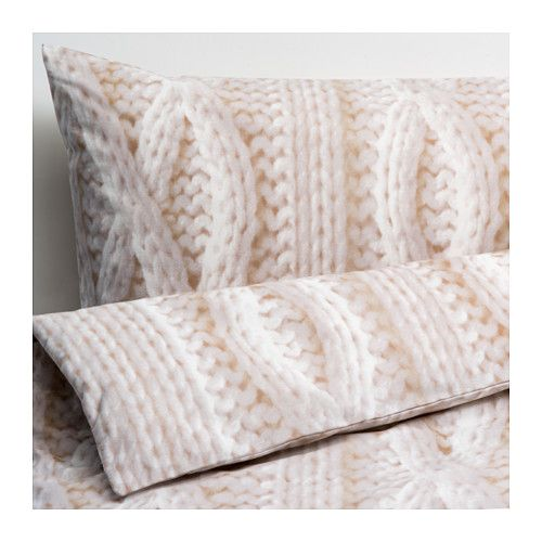IKEA RÅGLOSTA Quilt cover and 2 pillowcases Beige 200x200/50x80 cm Cotton, feels soft and nice against your skin.
