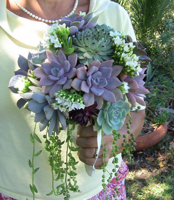 Succulent Wedding Bouquet, Succulent Bridesmaid Bouquet.