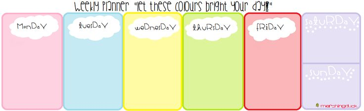 weekly bright planner :)