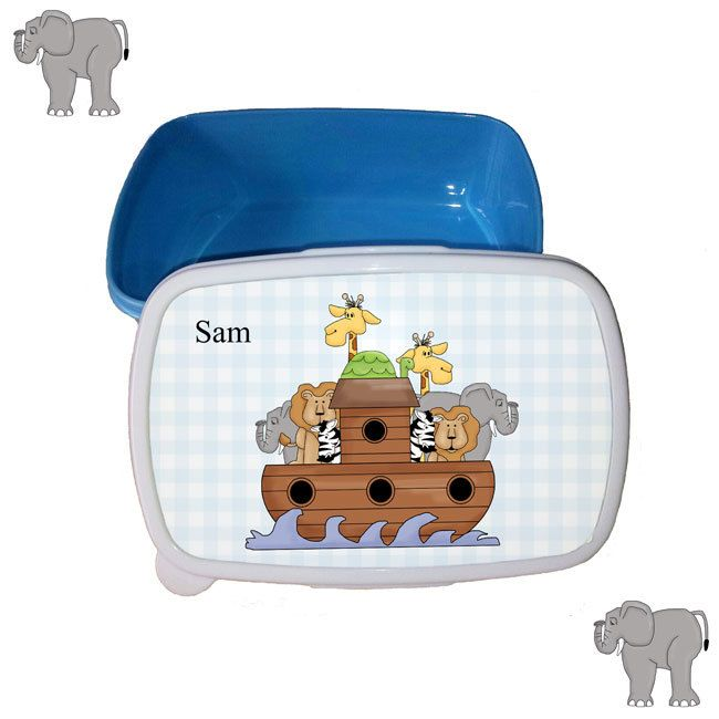 Personalised Noah's Ark lunch box, sandwich box ideal for picnics, days out and school by cjcprint on Etsy