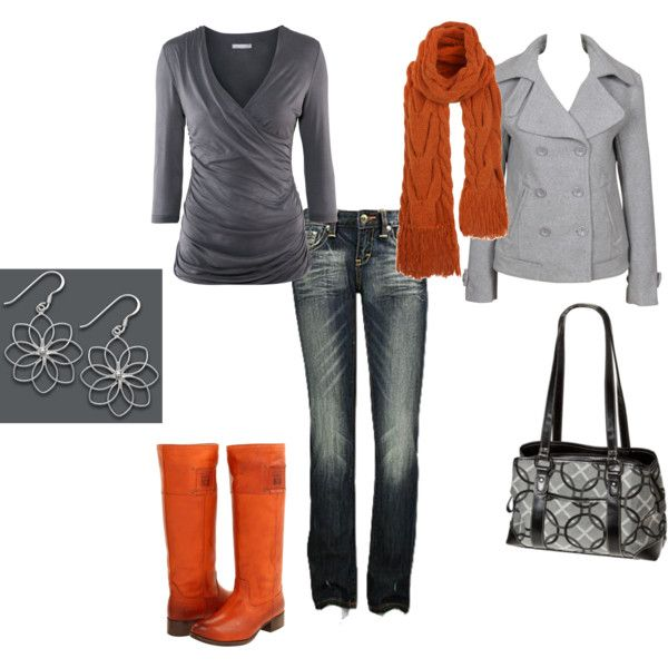 Orange and Gray, created by jklmnodavis.polyv...: Colors Combos, Jeans Grey, Dreams Closet, Rain Boots, Fashion Style, Orange Clothing, Outfit, Cute Clothing, Earrings