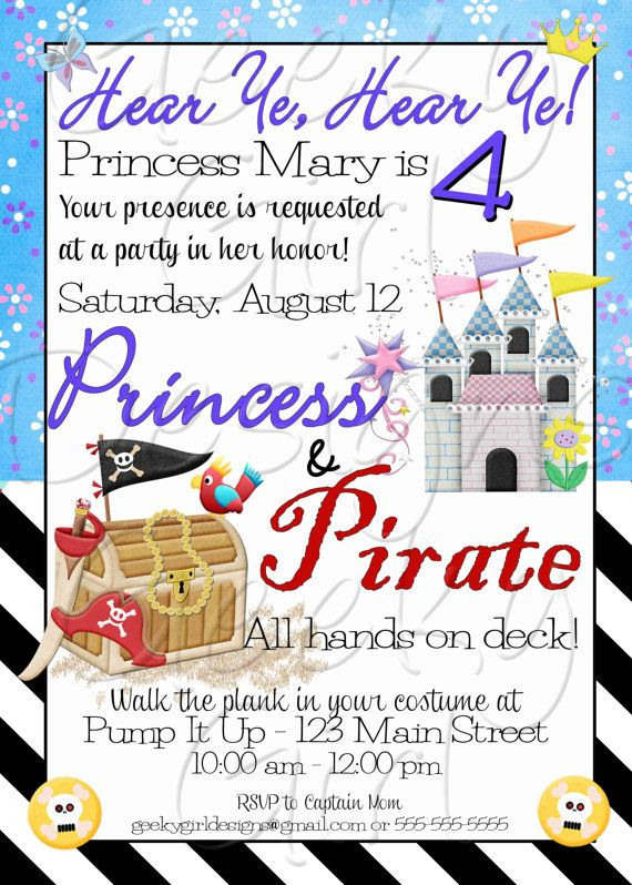 184 best Princess Pirate Party images – Princess and Pirates Party Invitations