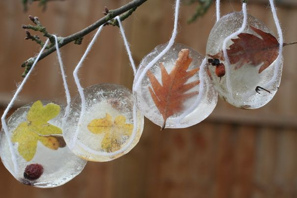 Ice sun-catchers: This just may be my #1 favorite winter craft to do with children. How to: 1. fill a bun tray 1/2 full with water (can substitute bun tray with another shallow, round object) 2. place leaves, sticks, nuts, etc in the water 3. Place a string with a knot tied in it into the water 4. leave them outside and let them freeze! We like to place ours close to the window so we can watch them freeze!
