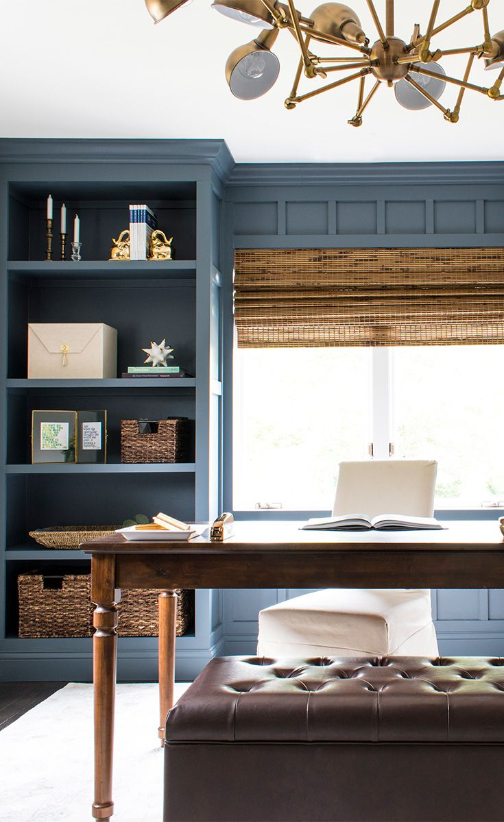 Home office with built in bookcases painted sherwin - Sherwin williams outerspace exterior ...