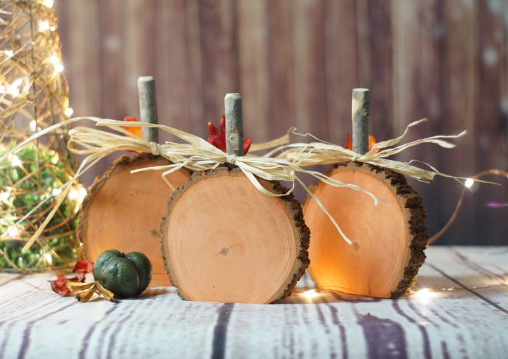"""Rustic Wooden Pumpkins - Set of Three. Log Slices with Branch Stems - Hand Painted """"Pumpkin Orange"""" Display on Tabletop, Mantle, Porch or Hang in your Favorite Wreath. Approx. Size: 4-6"""" Diameter Plea"""