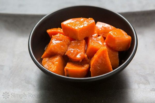Candied yams, garnet sweet potatoes, glazed with a brown sugar, ginger, cinnamon, orange sauce. Perfect for Thanksgiving and the holidays! ~ SimplyRecipes.com