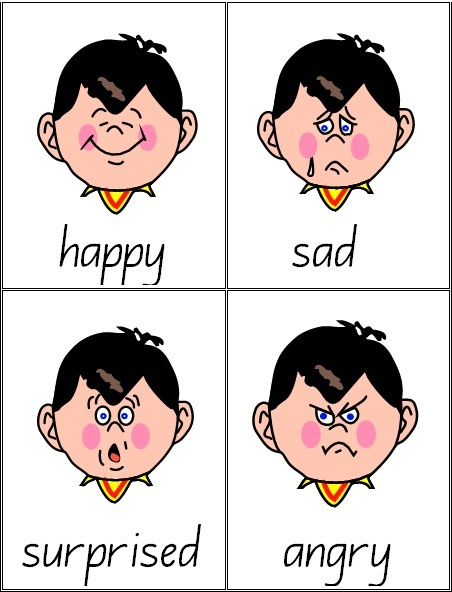 28 x Emotions Vocabulary Cards -  page, printable teacher's resource.  These cards will be appropriate for any early childhood setting.  Help children identify and discuss a range of emotions appropriate for young children.  Each card includes a picture and text e.g. one word.  Every card has a black border.    Emotions include: happy, sad, angry, excited, embarrassed, surprised, pleased, bored, sleepy, shocked, sorry, guilty, interested, thoughtful, playful, worried ad more. $