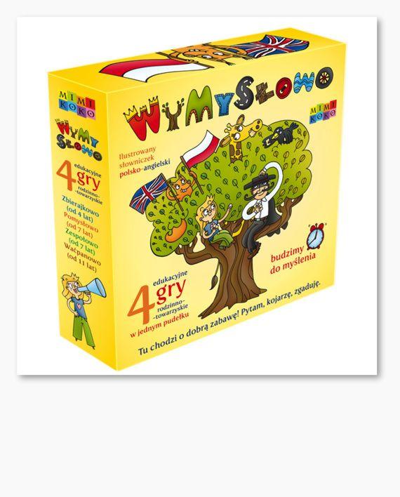 WyMySłowo to 4 edukacyjne gry rodzinno-towarzyskie w jednym pudełku. Tu chodzi o dobrą zabawę. Pytam, kojarzę, zgaduję!  Proste reguły gier – odgadnij ilustrację, którą wybrała druga osoba.  Uczysz się angielskiego. Poznajesz nowe słówka.  Ćwiczysz metodę dedukcji, od ogółu do szczegółu.