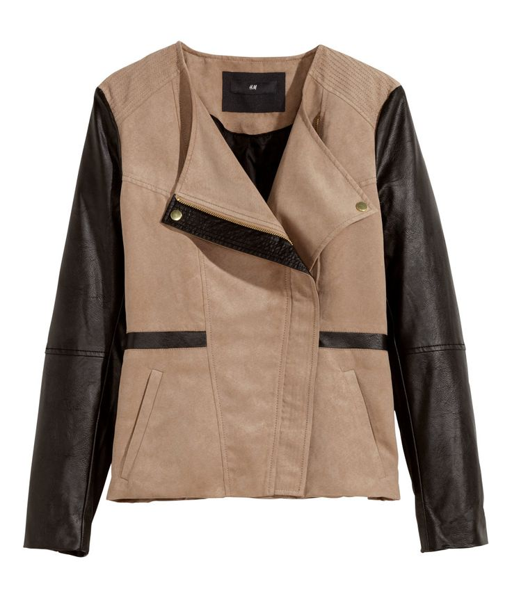 Fitted beige biker jacket in faux suede & leather, with diagonal zip and contrasting black sleeves. | Warm in H&M