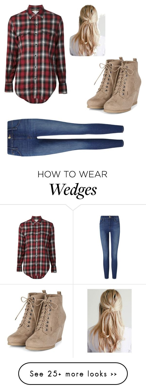 """""""Pretty lumberjack"""" by gorgeousflowers on Polyvore featuring Yves Saint Laurent and Frame Denim"""