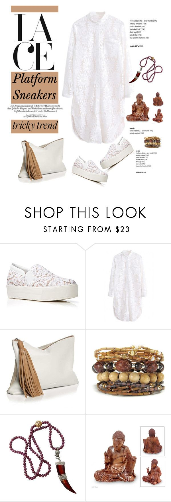 """""""Tricky Trend: Platform Sneakers"""" by cruzeirodotejo ❤ liked on Polyvore featuring N°21, CB Bronfman, NOVICA, TrickyTrend, white, minimal, nude and platformsneakers"""
