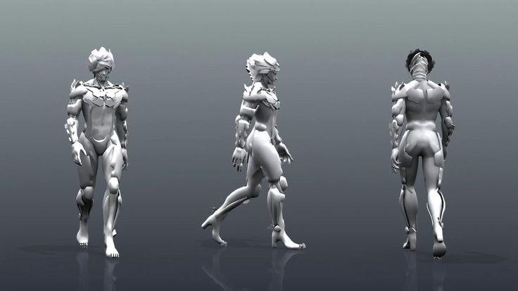 양손 도끼 공격. 무거운 캐릭터 뛰기. 걷기. 한손검 캐릭터 콤보 영상 포함