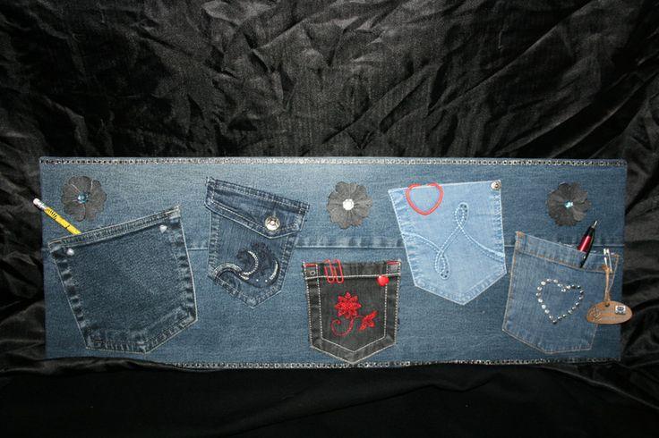 Utensilos & Stoffkörbchen - Utensilo, Organizer für Wand, Jeans, 5 Taschen - ein Designerstück von Angelas_Kreativwelt bei DaWanda
