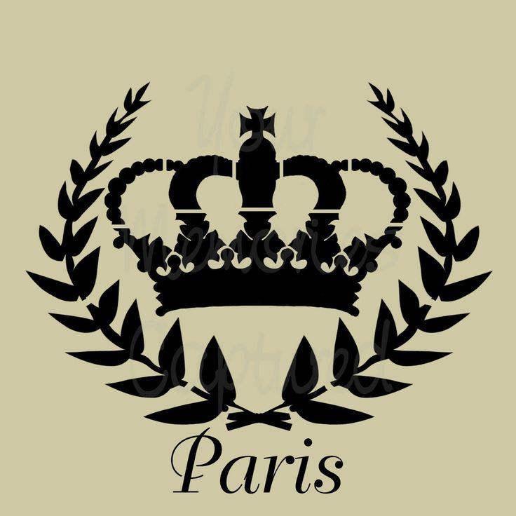 Paris Stencils | Paris Crown Shabby Chic Reusable Stencil - for fabric, wood, paper ...