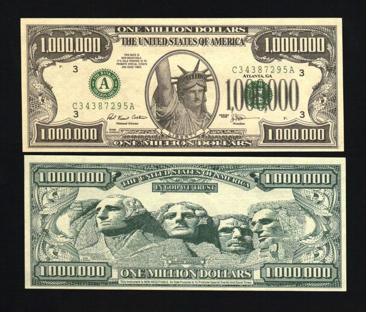 Details about Lot of 100 Realistic $1,000,000 Million Dollar Bill, Statue of Liberty Novelty