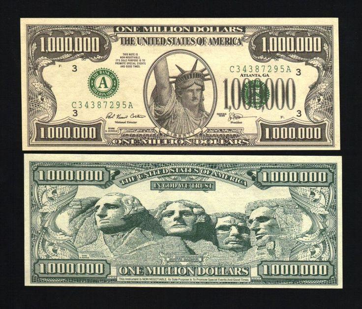 Lot of 100 Realistic $1,000,000 Million Dollar Bill, Statue of Liberty Novelty