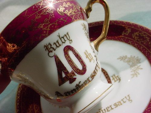 Ideas For 40th Wedding Anniversary Gifts: Vintage Norcrest 40th Wedding Anniversary Gift Idea Cup