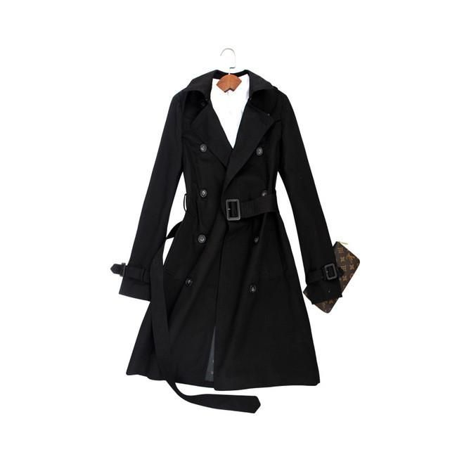 Hot sale 2017 Spring Autumn Brand Casual Trench coat for women Plus Size Long Double breasted Slim Windbreaker Outerwear Coats