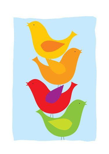 Aves impressão da arte, Casa cópia da arte, pássaros coloridos de impressão, o canto dos pássaros impressão, céu azul de impressão, pássaro