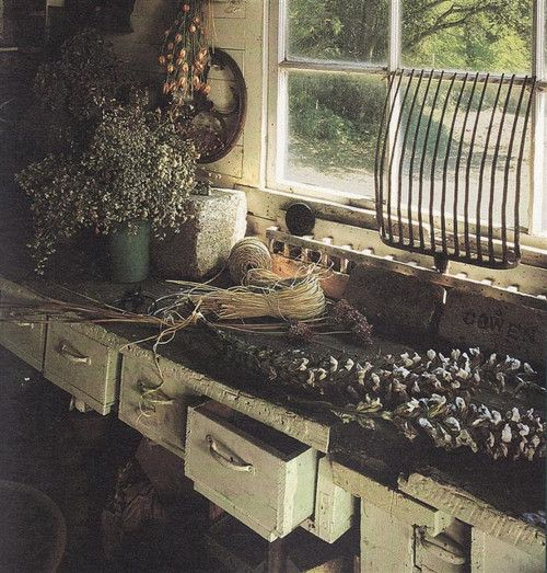 dreamsgatherhere:  Potting Bench by Knitty, Vintage and Rosy on Flickr.
