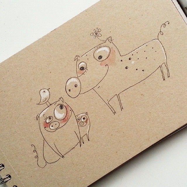 Мои первые свинки для #арт_пинок от @marta__may  #sketch #piggy #sketchbook #funny #cute #хрю #хрюарт #рисунок #рисуюкаждыйдень #скетч #скетчбук #