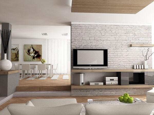 Soggiorno con mezza separazione cucina nel 2019 for Soggiorno e salotto