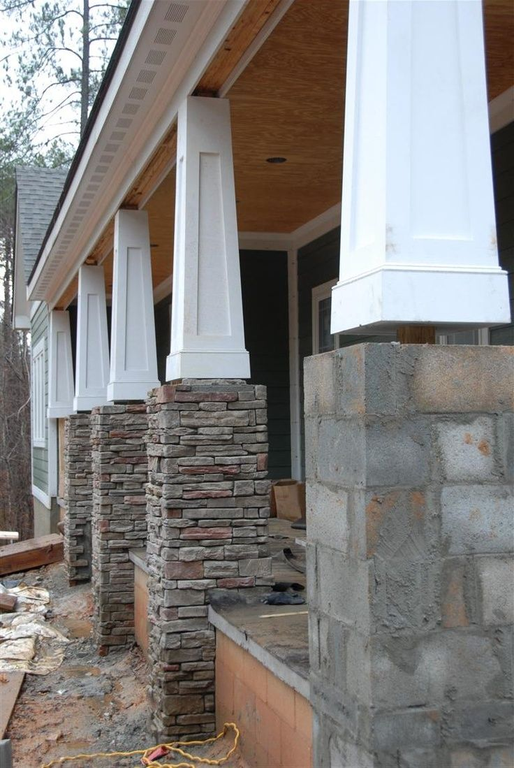 25 best ideas about stone columns on pinterest porch for Half concrete half wood house design