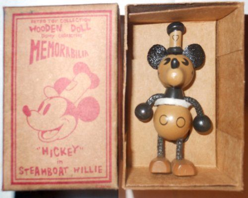 Mickey Mouse Steamboat Willie wooden doll