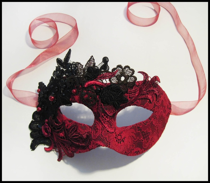 Beautiful Masquerade Lace Mask  Gothic Red by RalucaElf on Etsy. , via Etsy.