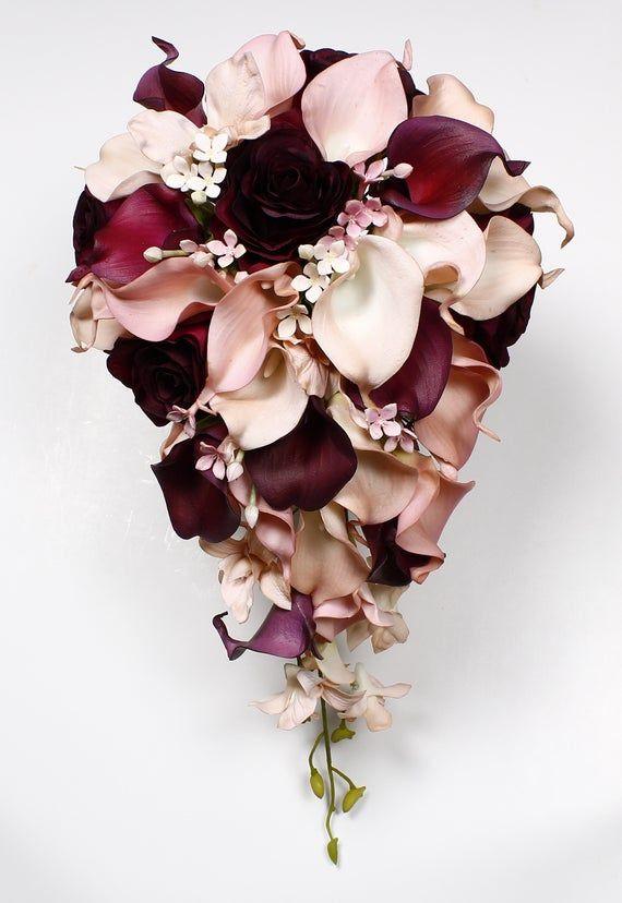 Weddings Wedding Bouquet Cranberry Calla Lily Bouquet Cranberry Bouquet  Real Touch  Calla Lily Bridal Bouquet Wedding  Bouquets