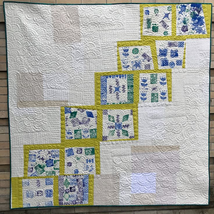 https://flic.kr/p/MNaFfd | Hutch School Quilt 2016 | Made with hand-stamped fabric panels by the children attending the Hutch School this September, this quilt will be auctioned off at the Fred Hutch Holiday gala in early December.